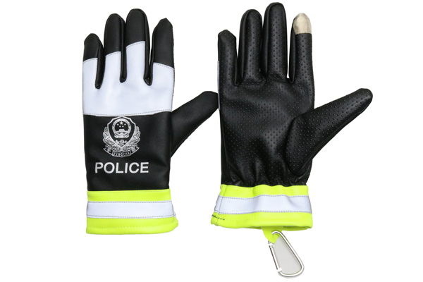 黑拼皮反光棉手套